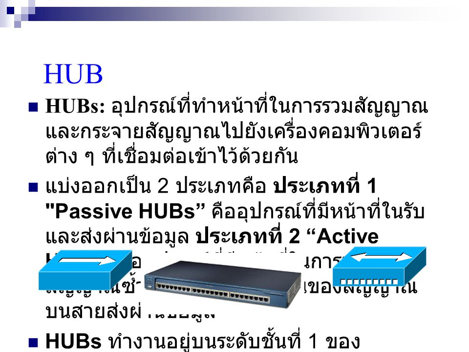 HUB HUBs: อุปกรณ์ที่ทำหน้าที่ในการรวมสัญญาณ และกระจายสัญญาณไปยังเครื่องคอมพิวเตอร์ ต่าง ๆ ที่เชื่อมต่อเข้าไว้ด้วยกัน แบ่งออกเป็น 2 ประเภทคือ ประเภทที่ 1 Passive HUBs คืออุปกรณ์ที่มีหน้าที่ในรับ และส่งผ่านข้อมูล ประเภทที่ 2 Active HUBs คืออุปกรณ์ที่มีหน้าที่ในการทวน สัญญาณซ้ำเมื่อเกิดการลดทอนของสัญญาณ บนสายส่งผ่านข้อมูล HUBs ทำงานอยู่บนระดับชั้นที่ 1 ของ แบบจำลอง OSI Model