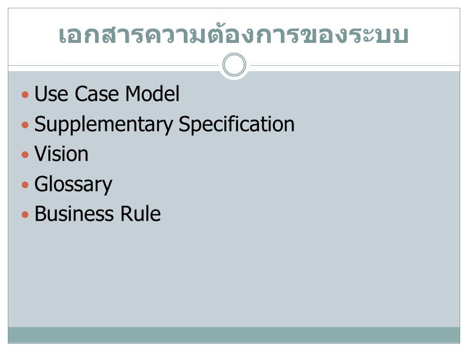 Supplementary Specification Non-Function Requirement ตัวอย่างรายงานที่ได้จากระบบ Hardware and Software Constraint Development Constraint, Methodology ข้อกำหนดด้านการออกแบบและติดตั้งอื่น Documentation ประเด็นด้านลิขสิทธิ์ สิทธิการใช้งานและประเด็น อื่นด้านกฎหมาย Packaging
