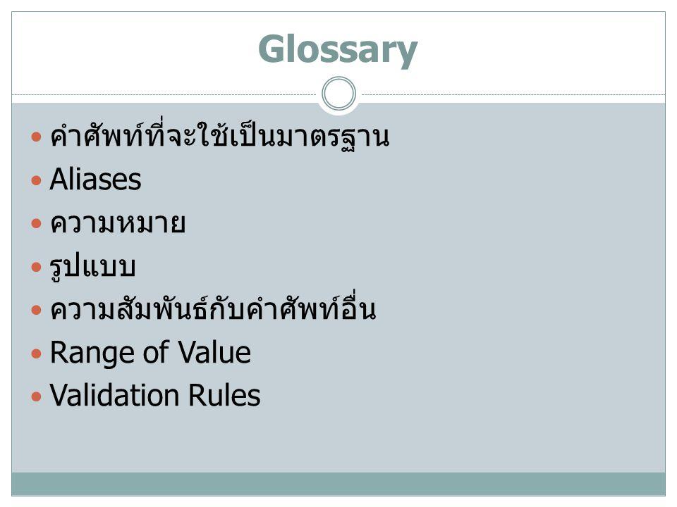 Glossary คำศัพท์ที่จะใช้เป็นมาตรฐาน Aliases ความหมาย รูปแบบ ความสัมพันธ์กับคำศัพท์อื่น Range of Value Validation Rules