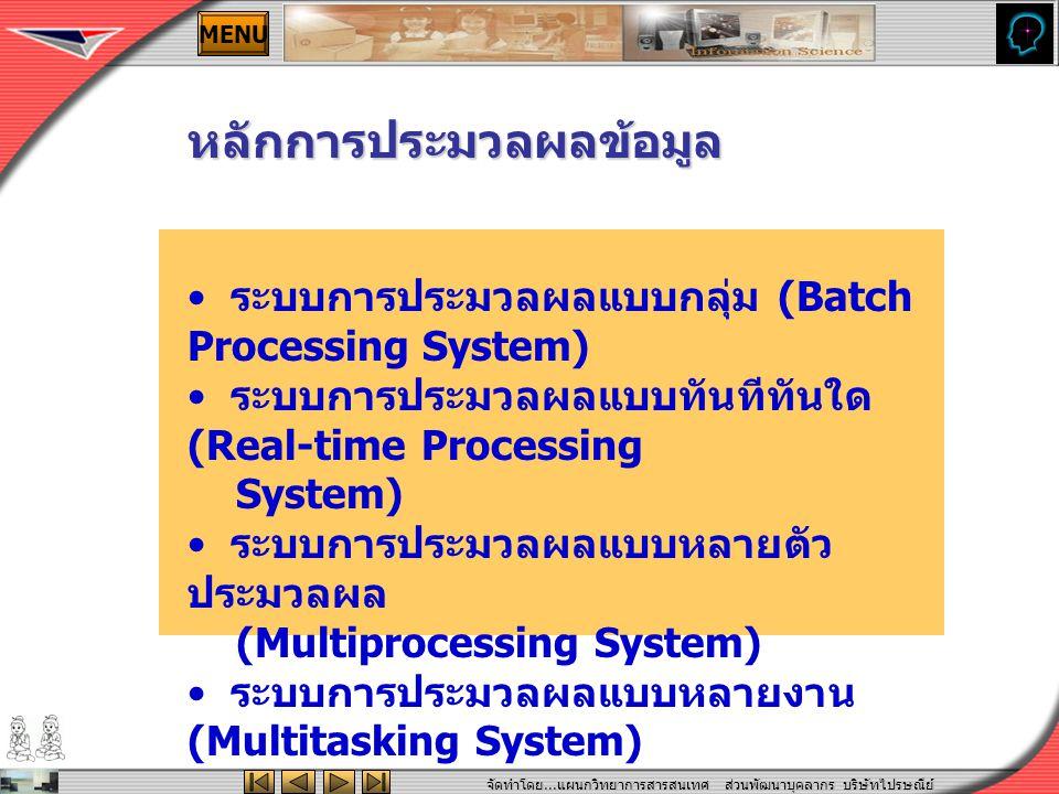 จัดทำโดย... แผนกวิทยาการสารสนเทศ ส่วนพัฒนาบุคลากร บริษัทไปรษณีย์ ไทยจำกัด MENU ระบบการประมวลผลแบบกลุ่ม (Batch Processing System) ระบบการประมวลผลแบบทัน