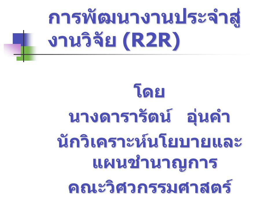 การพัฒนางานประจำสู่ งานวิจัย (R2R) โดย นางดารารัตน์ อุ่นคำ นักวิเคราะห์นโยบายและ แผนชำนาญการ คณะวิศวกรรมศาสตร์