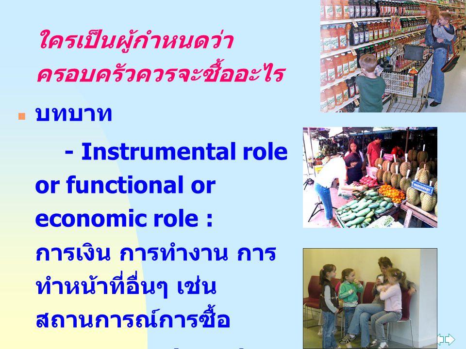 ใครเป็นผู้กำหนดว่า ครอบครัวควรจะซื้ออะไร บทบาท - Instrumental role or functional or economic role : การเงิน การทำงาน การ ทำหน้าที่อื่นๆ เช่น สถานการณ์การซื้อ - Expressive role : ด้านอารมณ์ บรรทัดฐาน