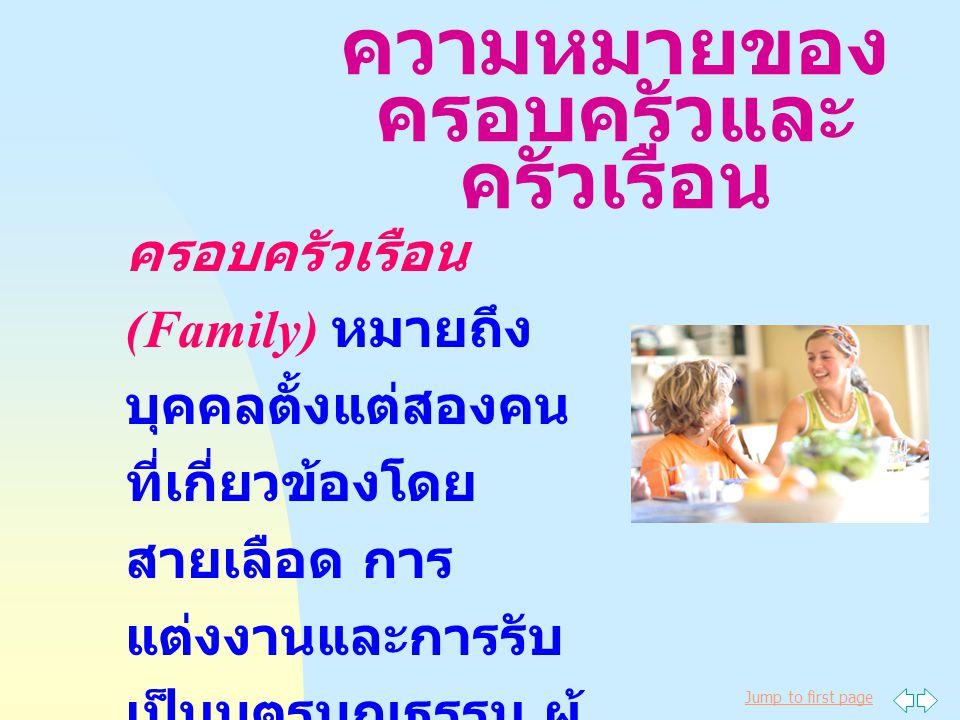 Jump to first page ความหมายของ ครอบครัวและ ครัวเรือน ครอบครัวเรือน (Family) หมายถึง บุคคลตั้งแต่สองคน ที่เกี่ยวข้องโดย สายเลือด การ แต่งงานและการรับ เป็นบุตรบุญธรรม ผู้ ซึ่งอาศัยอยู่ด้วยกัน