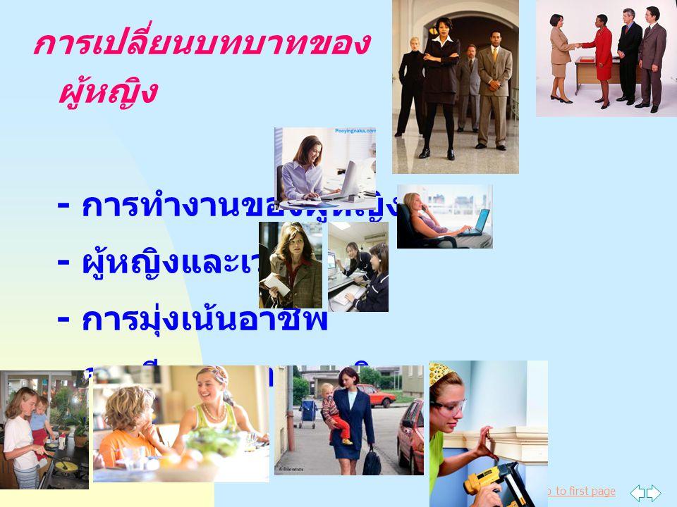 Jump to first page การเปลี่ยนบทบาทของ ผู้หญิง - การทำงานของผู้หญิง - ผู้หญิงและเวลา - การมุ่งเน้นอาชีพ - การมีบทบาทมากเกิน