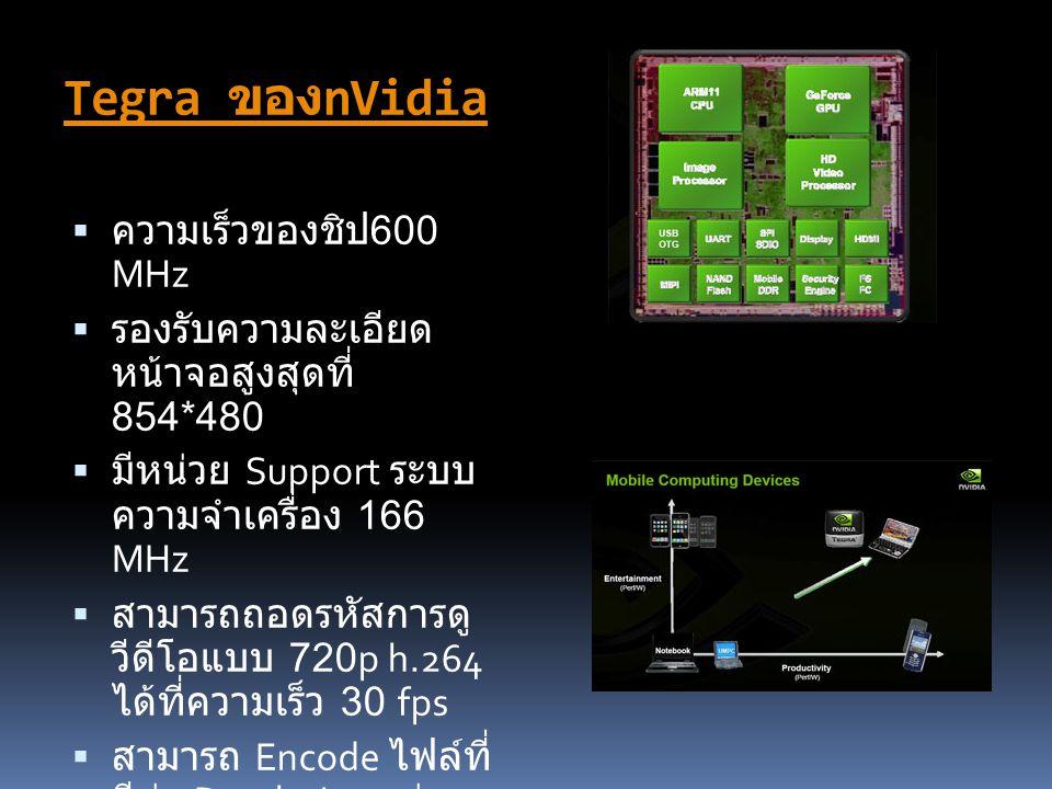 Tegra ของ nVidia  ความเร็วของชิป 600 MHz  รองรับความละเอียด หน้าจอสูงสุดที่ 854*480  มีหน่วย Support ระบบ ความจำเครื่อง 166 MHz  สามารถถอดรหัสการด