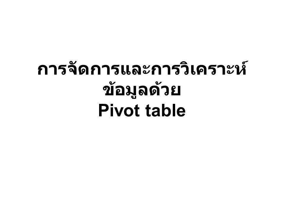 การจัดการและการวิเคราะห์ ข้อมูลด้วย Pivot table