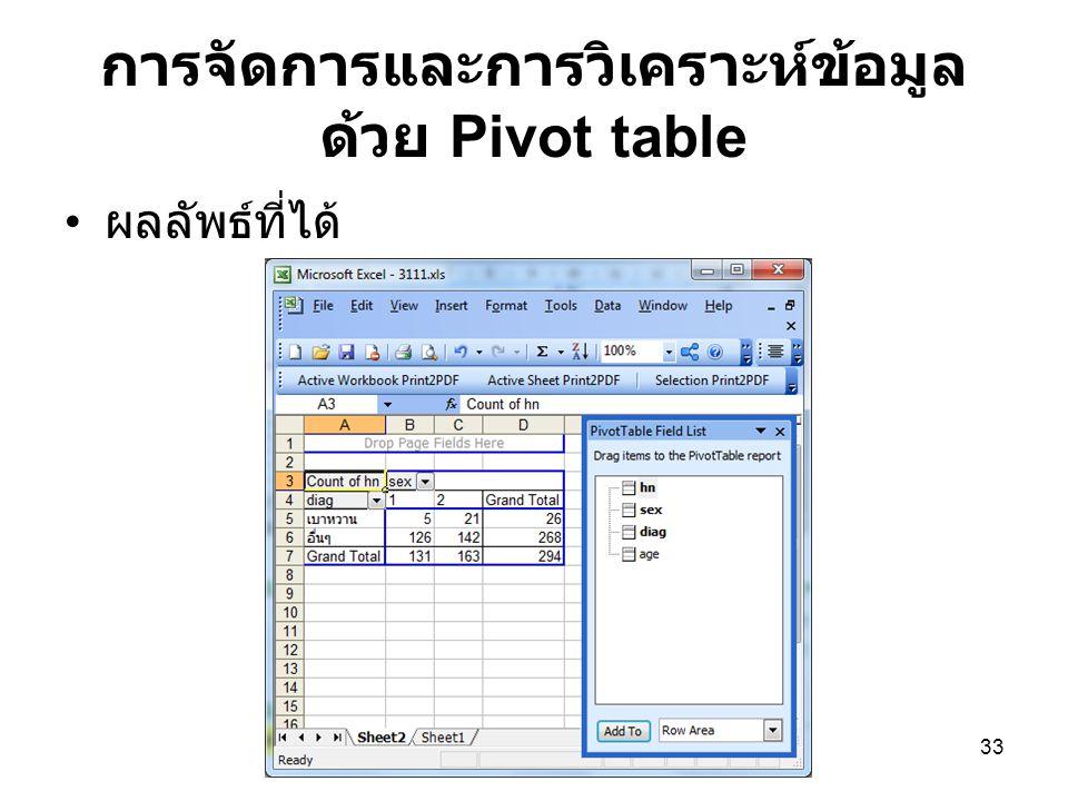 33 การจัดการและการวิเคราะห์ข้อมูล ด้วย Pivot table ผลลัพธ์ที่ได้