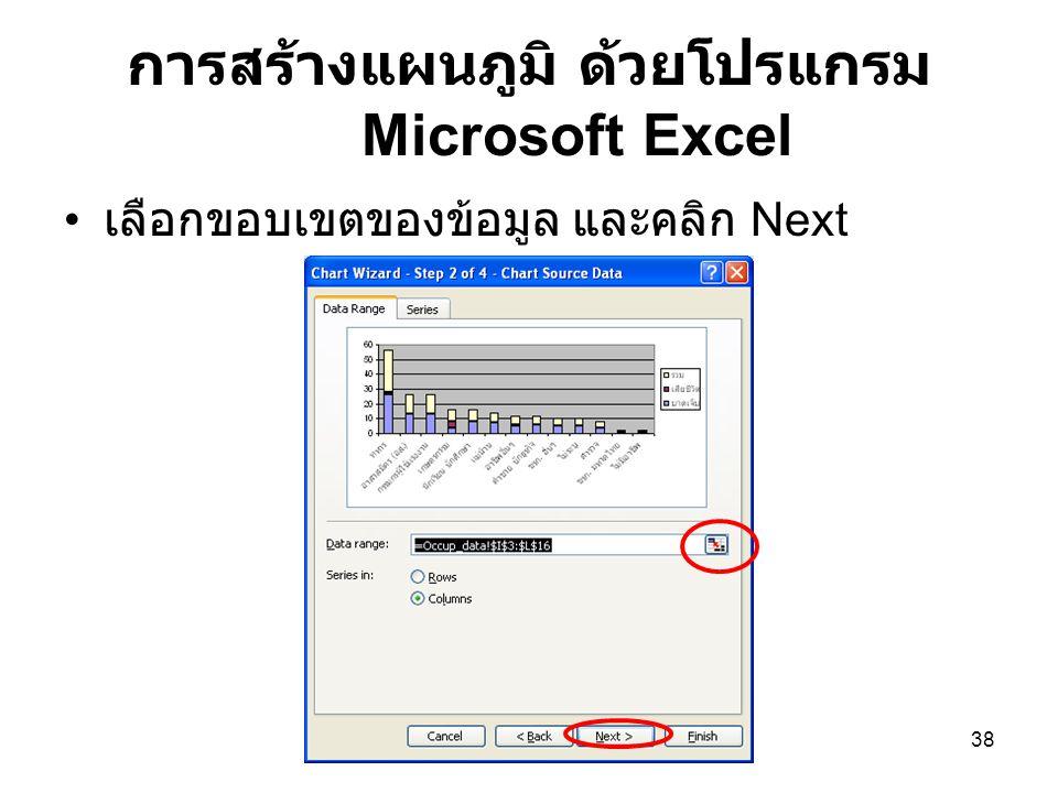 38 การสร้างแผนภูมิ ด้วยโปรแกรม Microsoft Excel เลือกขอบเขตของข้อมูล และคลิก Next