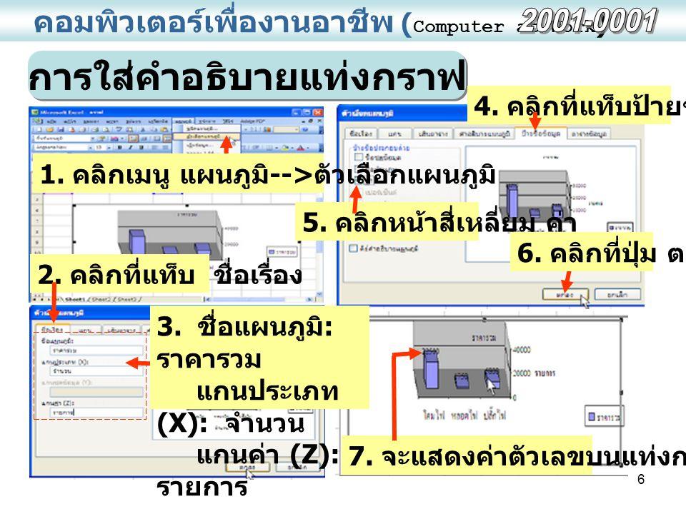 7 คอมพิวเตอร์เพื่องานอาชีพ ( Computer at Work ) การเลือกชนิดของกราฟ / แผนภูมิ 4.