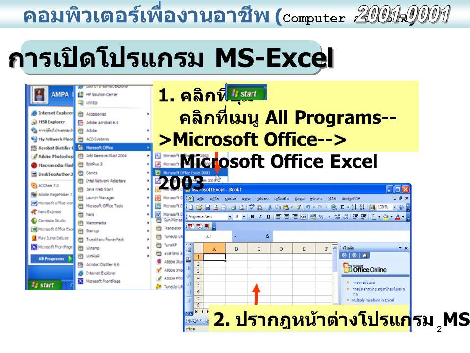 2 คอมพิวเตอร์เพื่องานอาชีพ ( Computer at Work ) การเปิดโปรแกรม MS-Excel 1. คลิกที่ปุ่ม คลิกที่เมนู All Programs-- >Microsoft Office--> Microsoft Offic