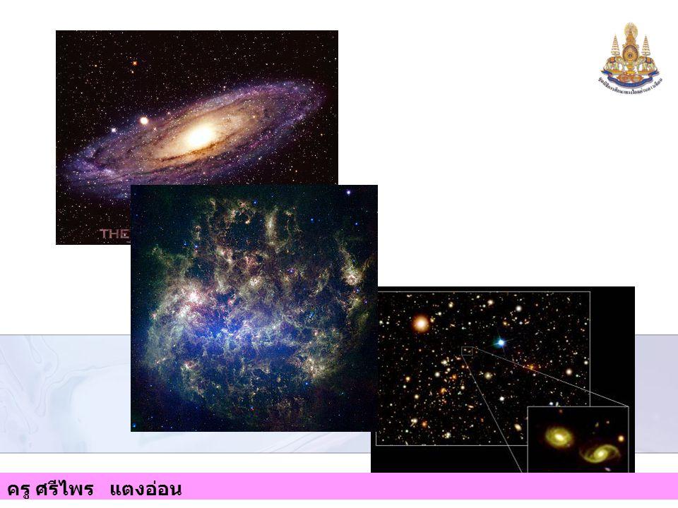 1. กาแล็กซีแบบ กังหัน 2. กาแล็กซีแบบหัน บาร์ 3. กาแล็กซีแบบทรง รี และ 4. กาแล็กซีแบบไร้ รูปทรง ฯลฯ ครู ศรีไพร แตงอ่อน