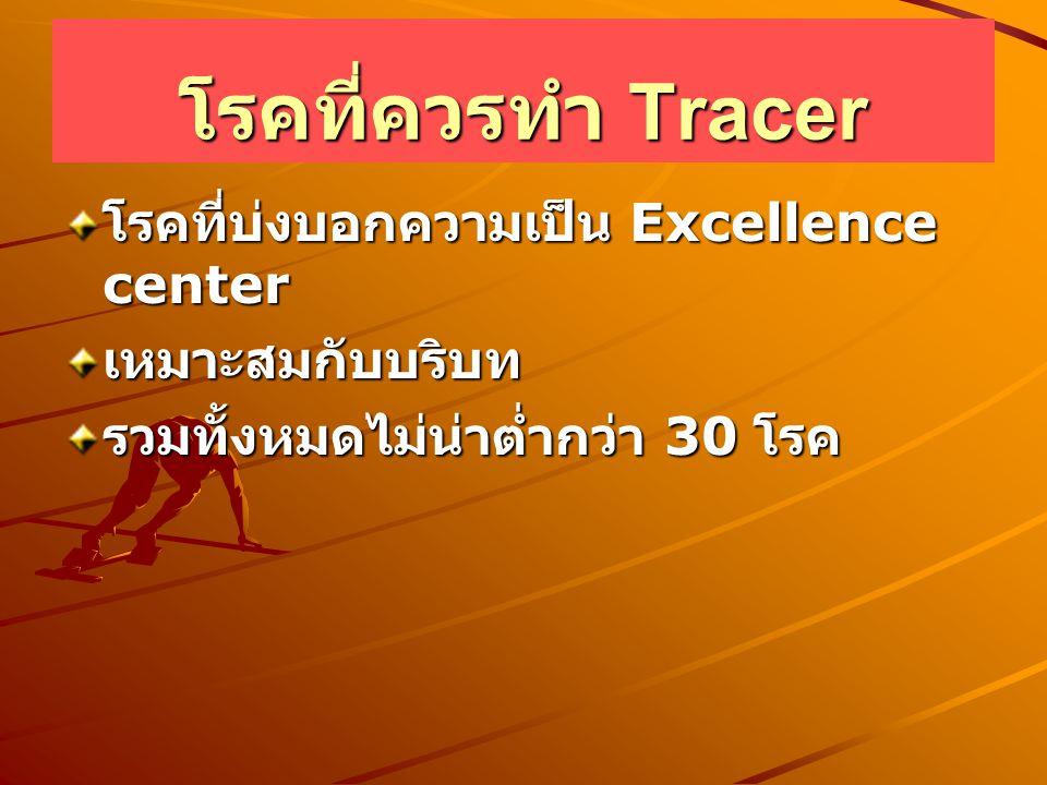 โรคที่ควรทำ Tracer โรคที่บ่งบอกความเป็น Excellence center เหมาะสมกับบริบท รวมทั้งหมดไม่น่าต่ำกว่า 30 โรค