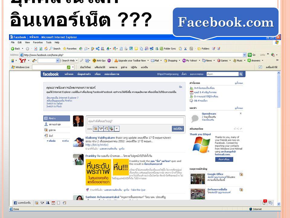 บุคคลในโลก อินเทอร์เน็ต ??? Facebook.com
