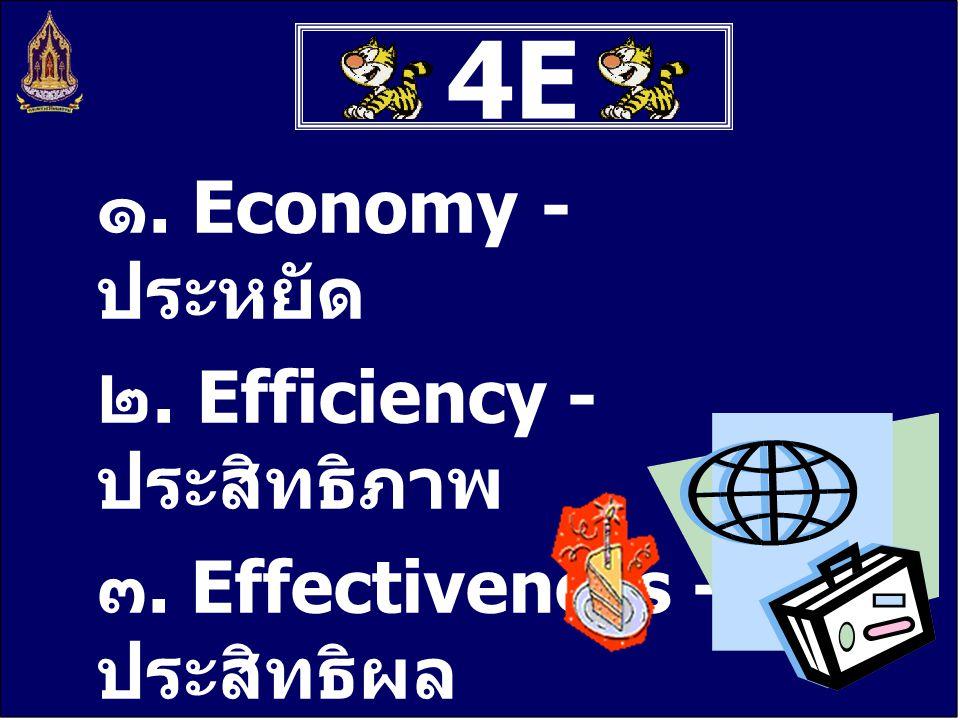 4E4E ๑. Economy - ประหยัด ๒. Efficiency - ประสิทธิภาพ ๓. Effectiveness - ประสิทธิผล ๔. Equity - ยุติธรรม