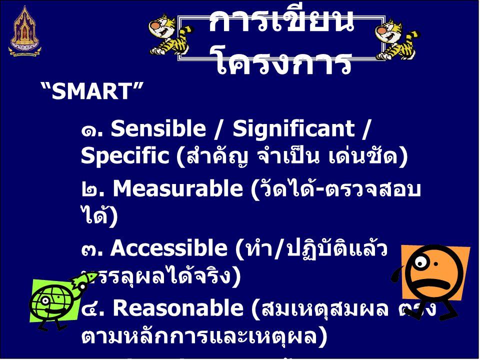การเขียน โครงการ ๑. Sensible / Significant / Specific ( สำคัญ จำเป็น เด่นชัด ) ๒. Measurable ( วัดได้ - ตรวจสอบ ได้ ) ๓. Accessible ( ทำ / ปฏิบัติแล้ว
