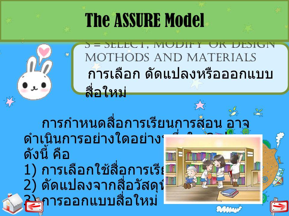 S = SELECT, MODIFY OR DESIGN MOTHODS AND MATERIALS การเลือก ดัดแปลงหรือออกแบบ สื่อใหม่ The ASSURE Model การกำหนดสื่อการเรียนการสอน อาจ ดำเนินการอย่างใ