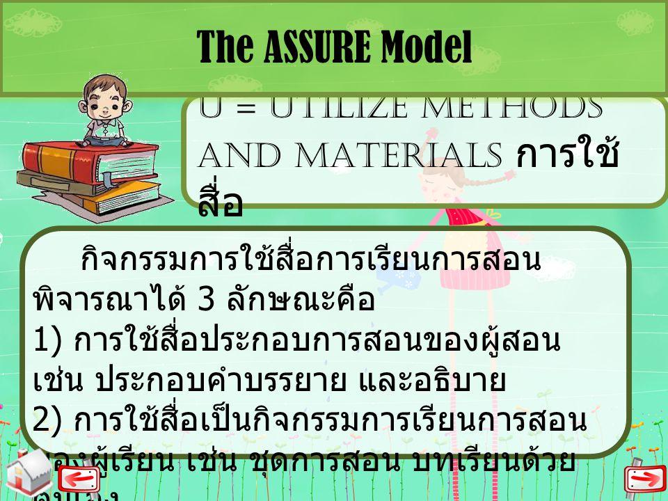 U = UTILIZE METHODS AND MATERIALS การใช้ สื่อ The ASSURE Model กิจกรรมการใช้สื่อการเรียนการสอน พิจารณาได้ 3 ลักษณะคือ 1) การใช้สื่อประกอบการสอนของผู้ส