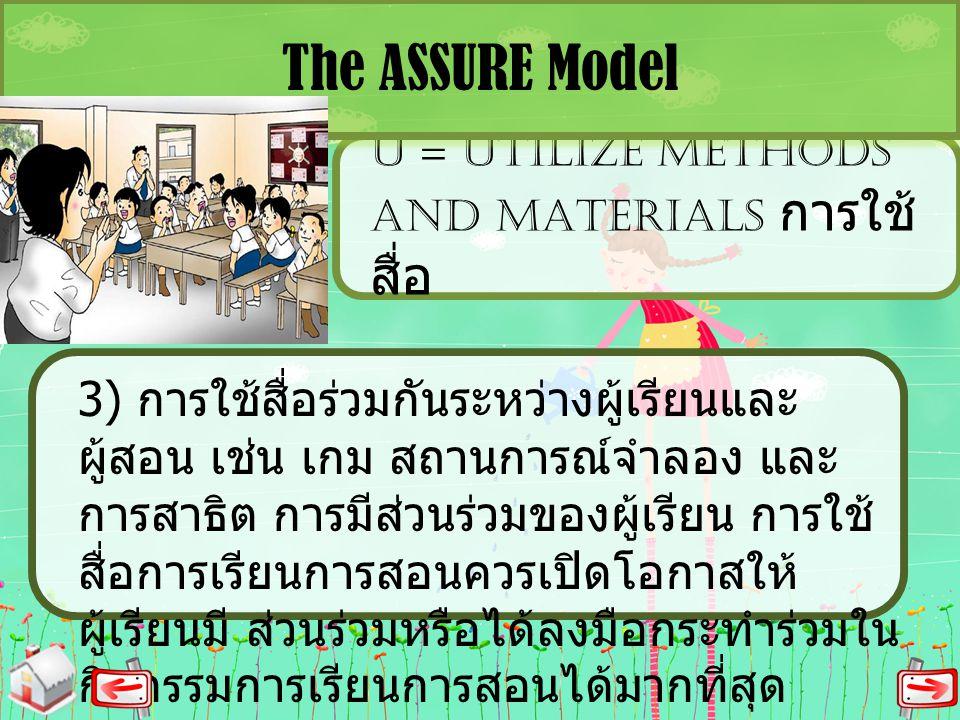 U = UTILIZE METHODS AND MATERIALS การใช้ สื่อ The ASSURE Model 3) การใช้สื่อร่วมกันระหว่างผู้เรียนและ ผู้สอน เช่น เกม สถานการณ์จำลอง และ การสาธิต การม