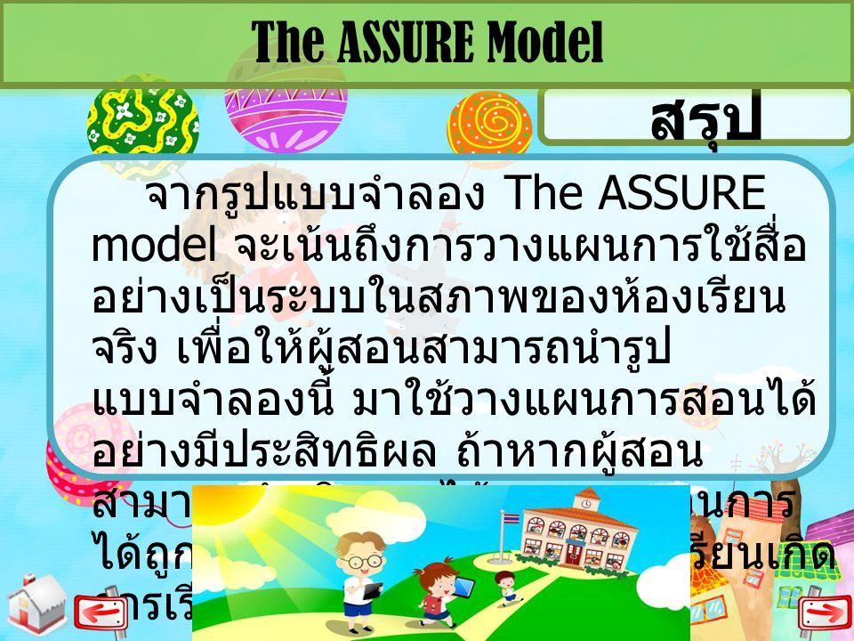 สรุป The ASSURE Model จากรูปแบบจำลอง The ASSURE model จะเน้นถึงการวางแผนการใช้สื่อ อย่างเป็นระบบในสภาพของห้องเรียน จริง เพื่อให้ผู้สอนสามารถนำรูป แบบจ