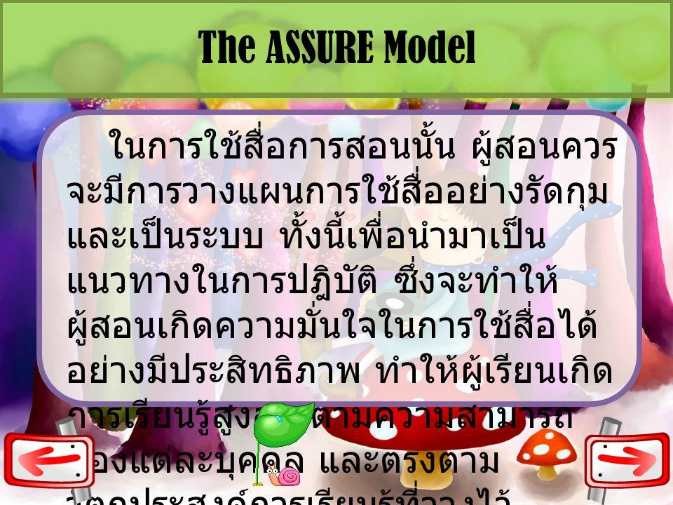 The ASSURE Model ในการใช้สื่อการสอนนั้น ผู้สอนควร จะมีการวางแผนการใช้สื่ออย่างรัดกุม และเป็นระบบ ทั้งนี้เพื่อนำมาเป็น แนวทางในการปฎิบัติ ซึ่งจะทำให้ ผ