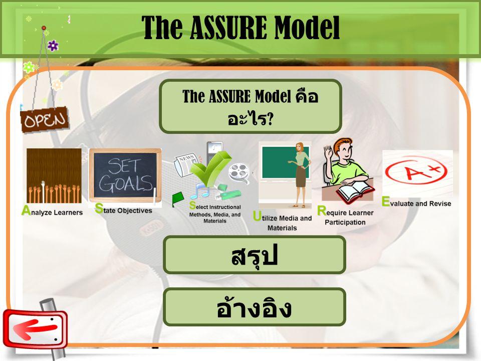 The ASSURE Model The ASSURE Model คือ อะไร ? สรุป อ้างอิง