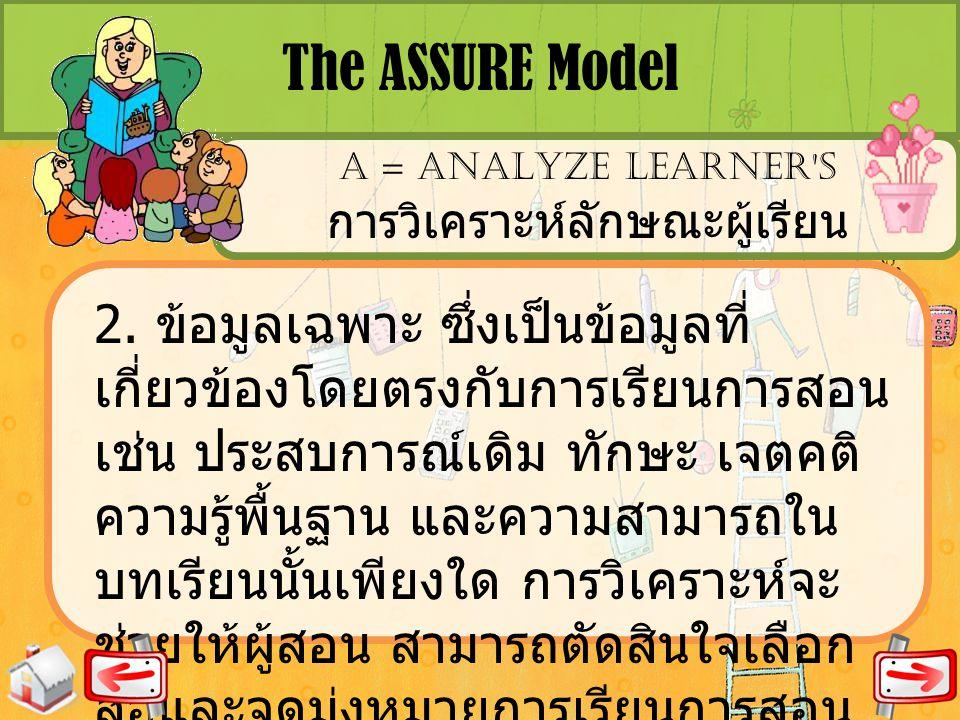 The ASSURE Model A = ANALYZE LEARNER'S การวิเคราะห์ลักษณะผู้เรียน 2. ข้อมูลเฉพาะ ซึ่งเป็นข้อมูลที่ เกี่ยวข้องโดยตรงกับการเรียนการสอน เช่น ประสบการณ์เด