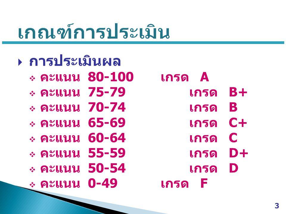  การประเมินผล  คะแนน 80-100 เกรด A  คะแนน 75-79 เกรด B+  คะแนน 70-74 เกรด B  คะแนน 65-69 เกรด C+  คะแนน 60-64 เกรด C  คะแนน 55-59 เกรด D+  คะแนน 50-54 เกรด D  คะแนน 0-49 เกรด F 3