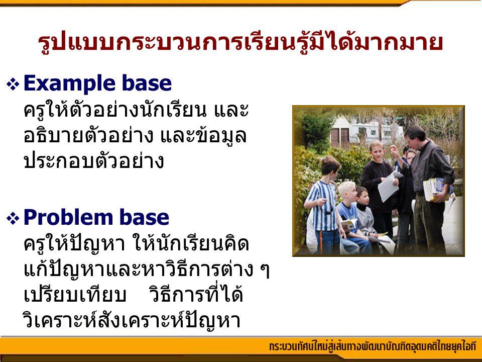 รูปแบบกระบวนการเรียนรู้มีได้มากมาย  Example base ครูให้ตัวอย่างนักเรียน และ อธิบายตัวอย่าง และข้อมูล ประกอบตัวอย่าง  Problem base ครูให้ปัญหา ให้นัก