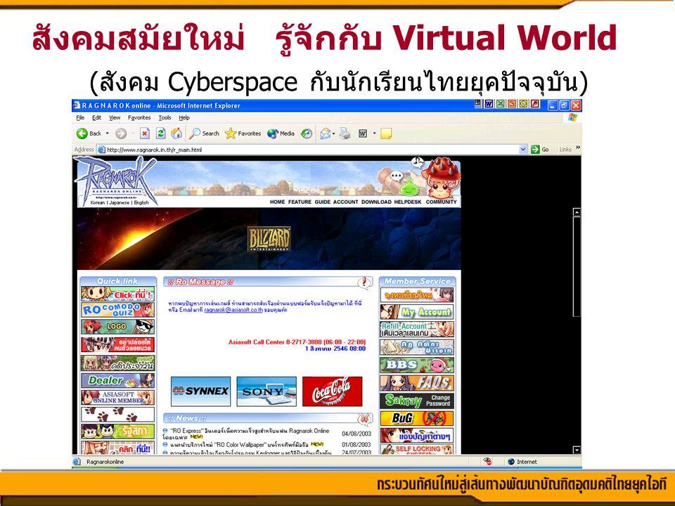 สังคมสมัยใหม่ รู้จักกับ Virtual World (สังคม Cyberspace กับนักเรียนไทยยุคปัจจุบัน)