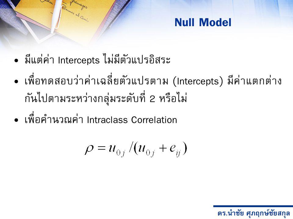 ดร.นำชัย ศุภฤกษ์ชัยสกุล มีแต่ค่า Intercepts ไม่มีตัวแปรอิสระ เพื่อทดสอบว่าค่าเฉลี่ยตัวแปรตาม (Intercepts) มีค่าแตกต่าง กันไปตามระหว่างกลุ่มระดับที่ 2 หรือไม่ เพื่อคำนวณค่า Intraclass Correlation Null Model