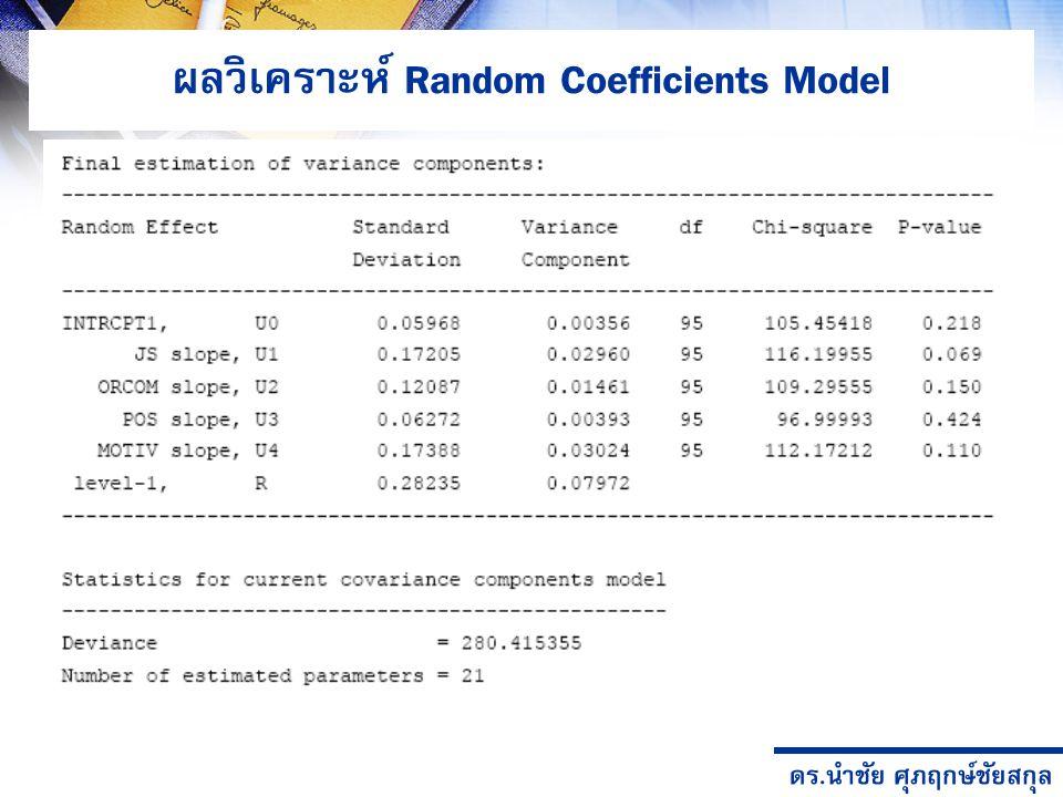 ดร.นำชัย ศุภฤกษ์ชัยสกุล ผลวิเคราะห์ Random Coefficients Model