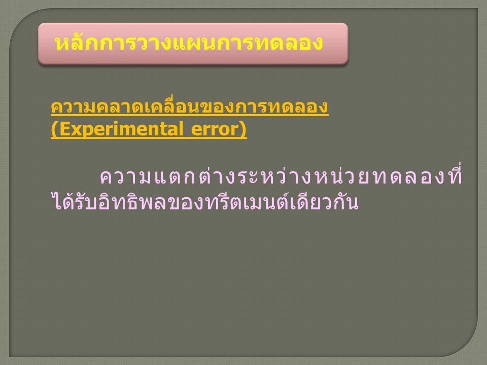 หลักการวางแผนการทดลอง ความคลาดเคลื่อนของการทดลอง (Experimental error) ความแตกต่างระหว่างหน่วยทดลองที่ ได้รับอิทธิพลของทรีตเมนต์เดียวกัน