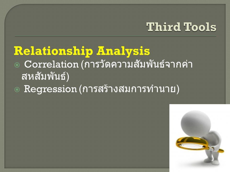 Relationship Analysis  Correlation ( การวัดความสัมพันธ์จากค่า สหสัมพันธ์ )  Regression ( การสร้างสมการทำนาย )
