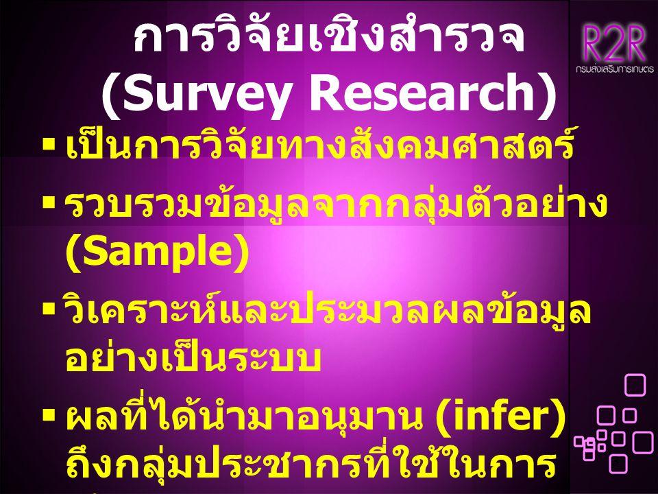 3 การวิจัยเชิงสำรวจ (Survey Research)  เป็นการวิจัยทางสังคมศาสตร์  รวบรวมข้อมูลจากกลุ่มตัวอย่าง (Sample)  วิเคราะห์และประมวลผลข้อมูล อย่างเป็นระบบ