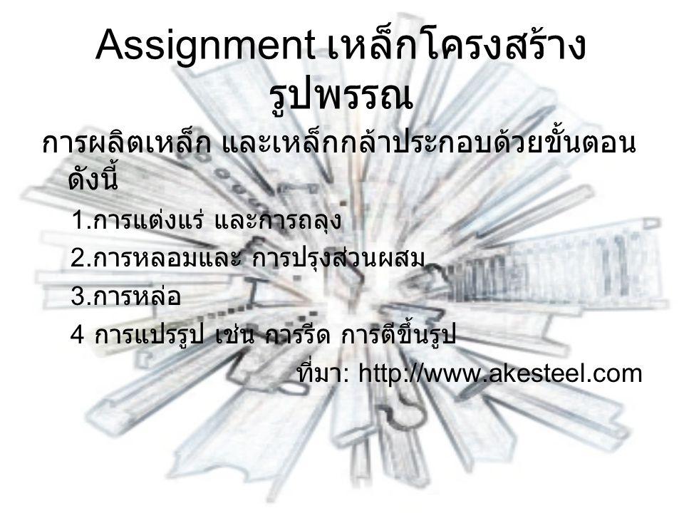 ในประเทศไทย การผลิตเหล็ก และ เหล็กกล้าจะเริ่มจากขั้นกลาง คือ การ หลอมและการหล่อ 1.