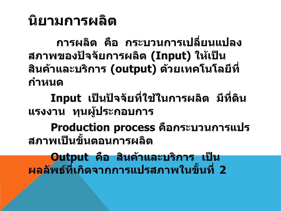 นิยามการผลิต การผลิต คือ กระบวนการเปลี่ยนแปลง สภาพของปัจจัยการผลิต (Input) ให้เป็นสินค้า และบริการ (output) ด้วยเทคโนโลยีที่กำหนด Input เป็นปัจจัยที่ใช้ในการผลิต มีที่ดิน แรงงาน ทุนผู้ประกอบการ Production process คือกระบวนการแปร สภาพเป็นขั้นตอนการผลิต Output คือ สินค้าและบริการ เป็นผลลัพธ์ที่ เกิดจากการแปรสภาพในขั้นที่ 2