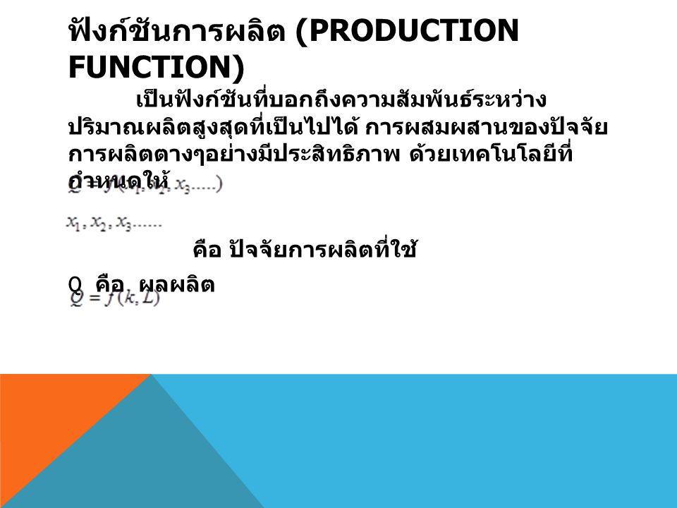 ฟังก์ชันการผลิต (PRODUCTION FUNCTION) เป็นฟังก์ชันที่บอกถึงความสัมพันธ์ระหว่าง ปริมาณผลิตสูงสุดที่เป็นไปได้ การผสมผสานของปัจจัย การผลิตตางๆอย่างมีประส