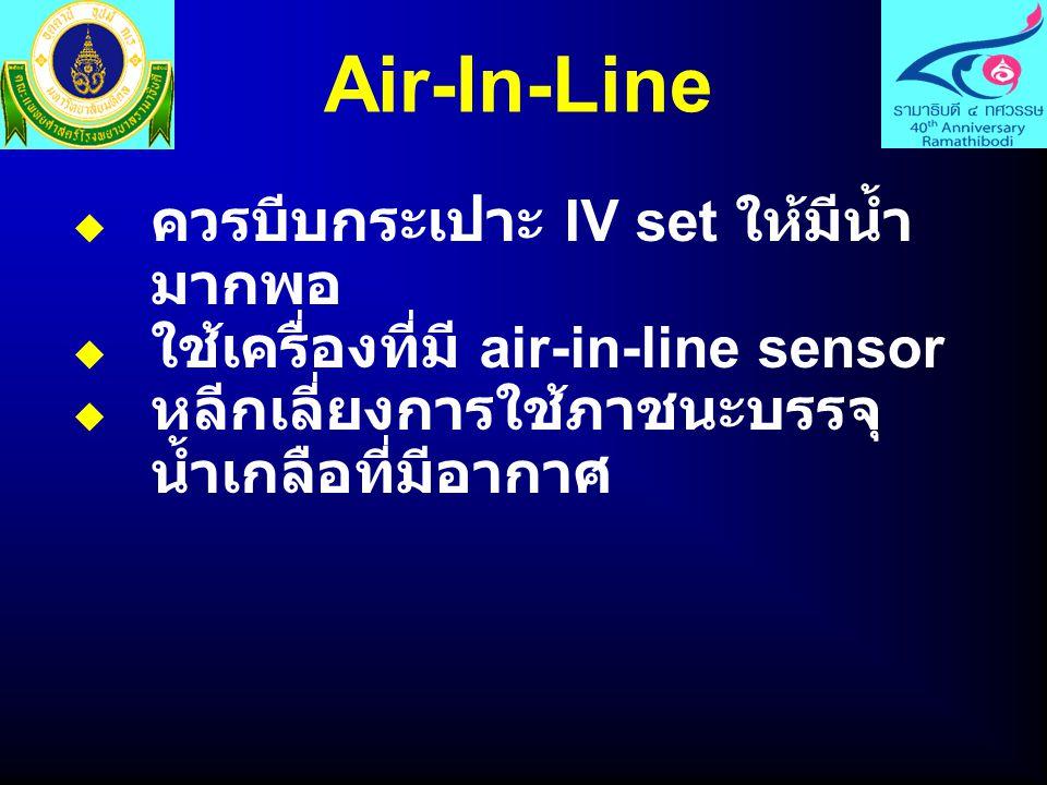 Air-In-Line  ควรบีบกระเปาะ IV set ให้มีน้ำ มากพอ  ใช้เครื่องที่มี air-in-line sensor  หลีกเลี่ยงการใช้ภาชนะบรรจุ น้ำเกลือที่มีอากาศ