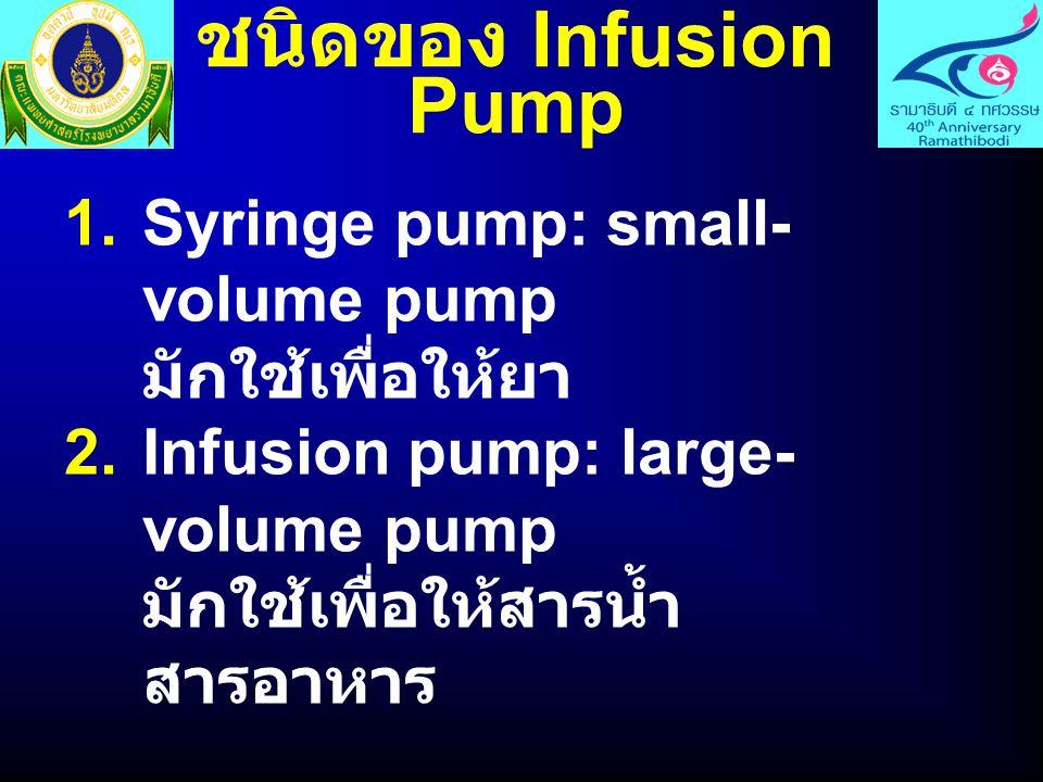 ชนิดของ Infusion Pump  Syringe pump: small- volume pump มักใช้เพื่อให้ยา  Infusion pump: large- volume pump มักใช้เพื่อให้สารน้ำ สารอาหาร