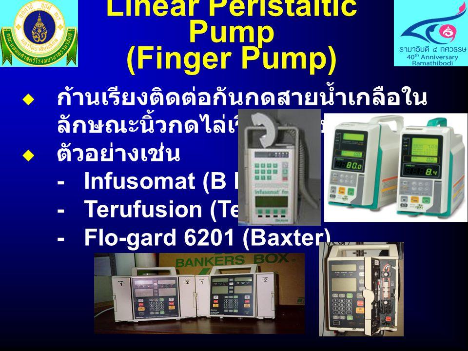 Linear Peristaltic Pump (Finger Pump)  ก้านเรียงติดต่อกันกดสายน้ำเกลือใน ลักษณะนิ้วกดไล่เรียงกันไป  ตัวอย่างเช่น - Infusomat (B Braun) - Terufusion