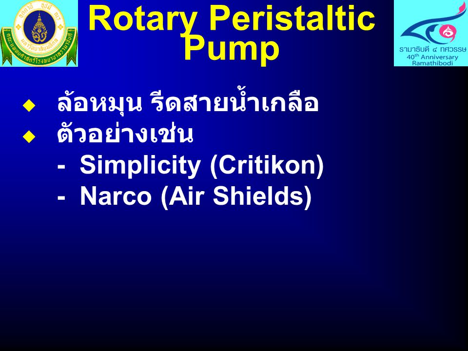 Reciprocating Piston Pump  ใช้ลูกสูบ ดึงสารน้ำเข้ามาในกระบอก สูบแล้ว pump ออกไปด้วยอัตราที่ตั้ง ไว้ กำหนดทิศทางการไหลของสาร น้ำให้เข้าหรือออกจากกระบอกสูบ ด้วย rotary valve หรือการอุดกั้น ทางออก  ตัวอย่างเช่น - Imed 960 (Imed) - Imfu-Check 1500 (Ivac)