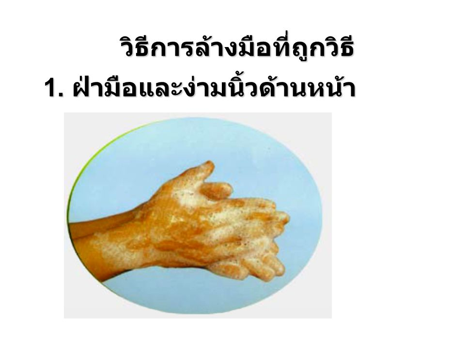 1. ฝ่ามือและง่ามนิ้วด้านหน้า วิธีการล้างมือที่ถูกวิธี