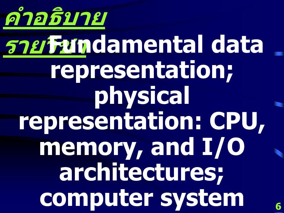 5 คำอธิบาย รายวิชา หลักมูลการแทนข้อมูล การแทนเชิงกายภาพ สถาปัตยกรรมหน่วย ประมวลผลกลาง หน่วยความจำ หน่วยรับเข้า - ส่งออก องค์ประกอบระบบ คอมพิวเตอร์ สถา