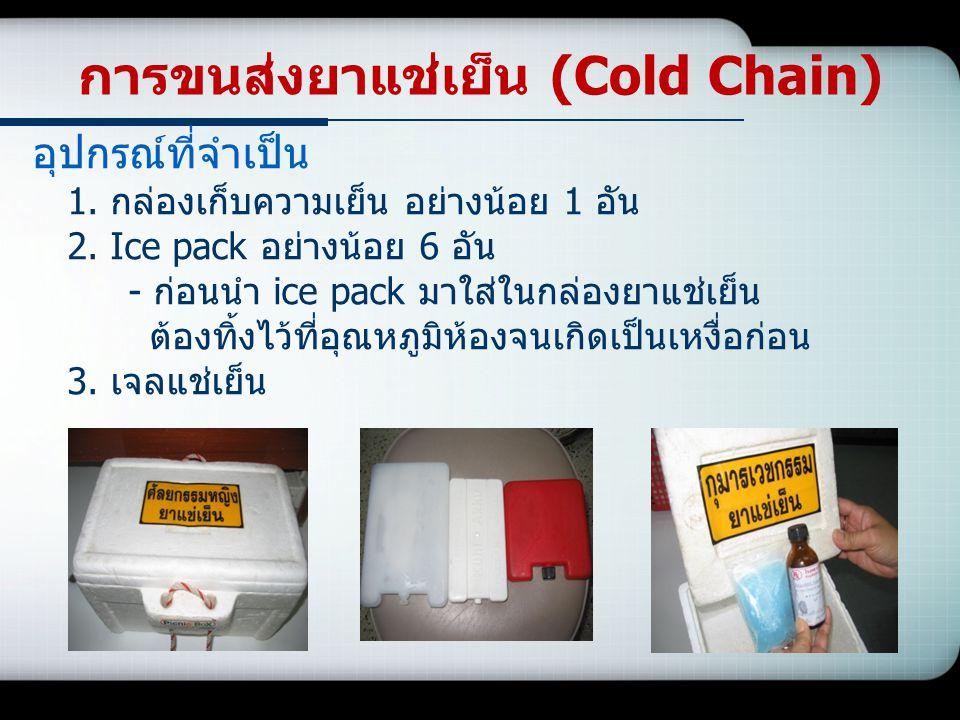 อุปกรณ์ที่จำเป็น 1. กล่องเก็บความเย็น อย่างน้อย 1 อัน 2. Ice pack อย่างน้อย 6 อัน - ก่อนนำ ice pack มาใส่ในกล่องยาแช่เย็น ต้องทิ้งไว้ที่อุณหภูมิห้องจน