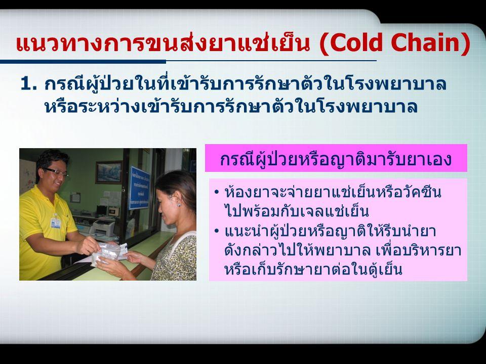 แนวทางการขนส่งยาแช่เย็น (Cold Chain) 1.กรณีผู้ป่วยในที่เข้ารับการรักษาตัวในโรงพยาบาล หรือระหว่างเข้ารับการรักษาตัวในโรงพยาบาล ห้องยาจะจ่ายยาแช่เย็นหรื