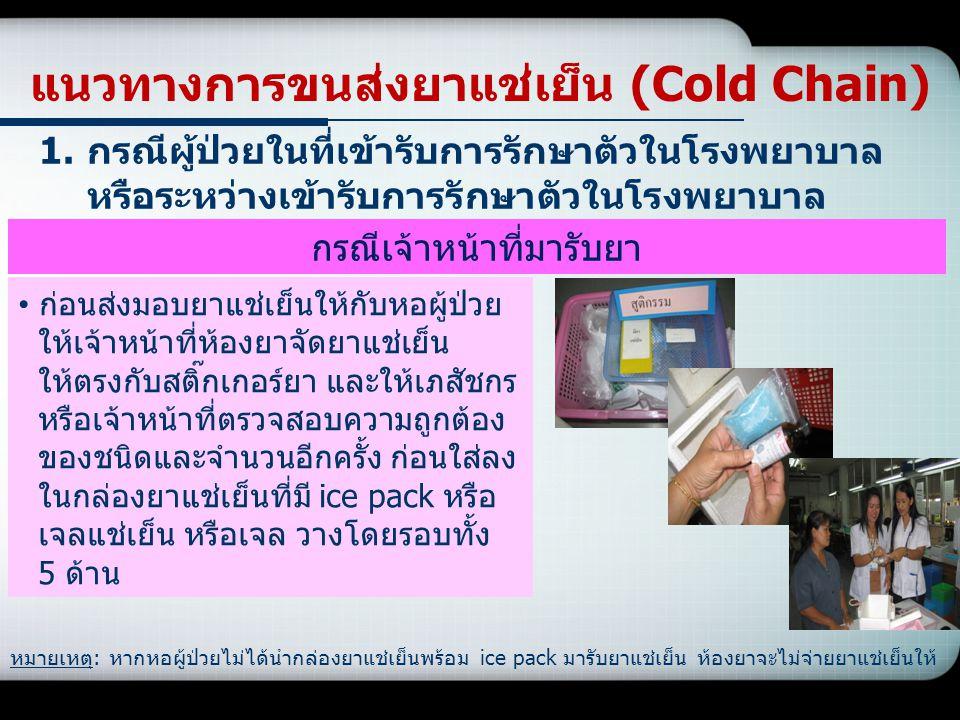 แนวทางการขนส่งยาแช่เย็น (Cold Chain) 1.กรณีผู้ป่วยในที่เข้ารับการรักษาตัวในโรงพยาบาล หรือระหว่างเข้ารับการรักษาตัวในโรงพยาบาล ก่อนส่งมอบยาแช่เย็นให้กั