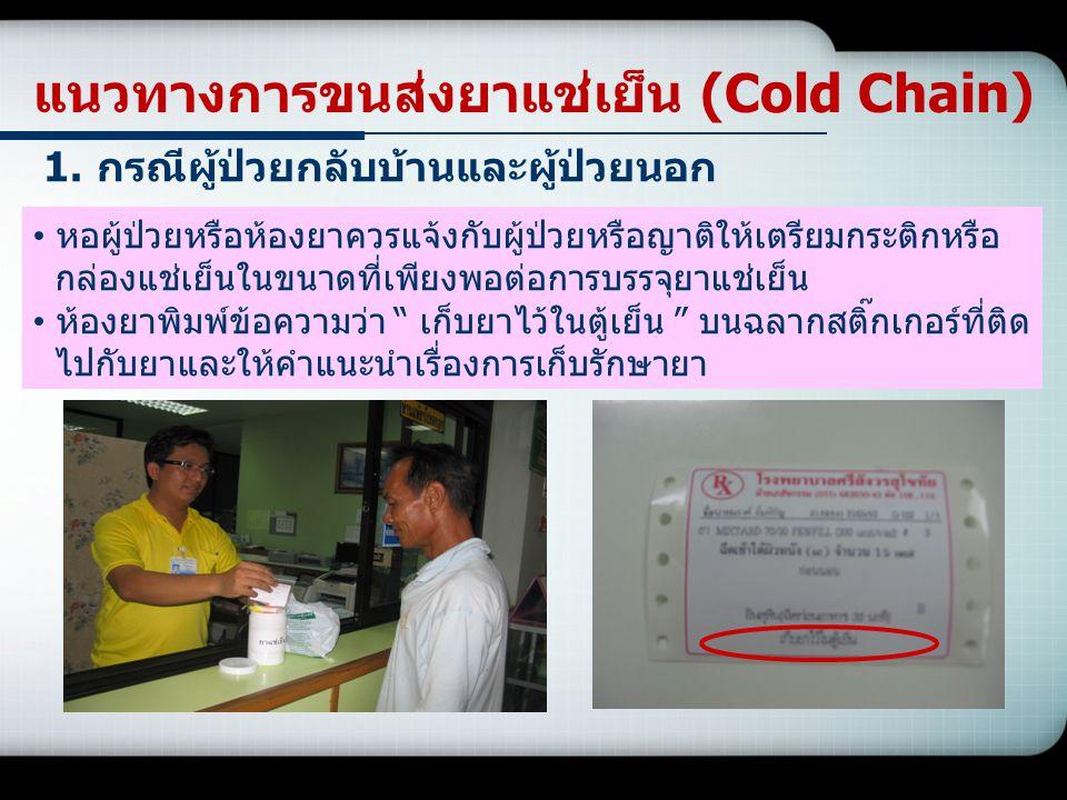 แนวทางการขนส่งยาแช่เย็น (Cold Chain) 1.กรณีผู้ป่วยกลับบ้านและผู้ป่วยนอก หอผู้ป่วยหรือห้องยาควรแจ้งกับผู้ป่วยหรือญาติให้เตรียมกระติกหรือ กล่องแช่เย็นใน