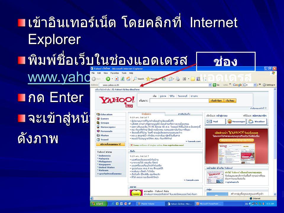 เข้าอินเทอร์เน็ต โดยคลิกที่ Internet Explorer พิมพ์ชื่อเว็บในช่องแอดเดรส www.yahoo.co.th www.yahoo.co.th กด Enter จะเข้าสู่หน้าเว็บดังภาพ ช่อง แอดเดรส