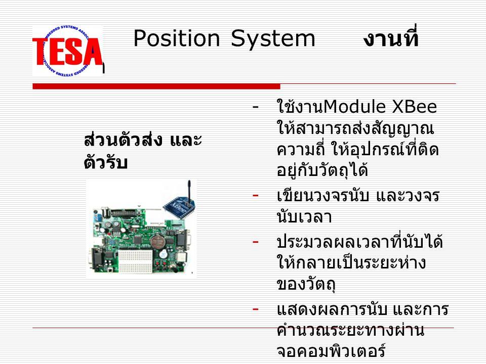 Position System งานที่ ต้องทำ - ใช้งาน Module XBee ให้สามารถส่งสัญญาณ ความถี่ ให้อุปกรณ์ที่ติด อยู่กับวัตถุได้ - เขียนวงจรนับ และวงจร นับเวลา - ประมวลผลเวลาที่นับได้ ให้กลายเป็นระยะห่าง ของวัตถุ - แสดงผลการนับ และการ คำนวณระยะทางผ่าน จอคอมพิวเตอร์ ส่วนตัวส่ง และ ตัวรับ
