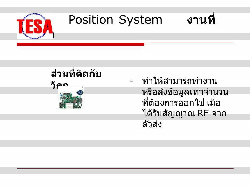 Position System งานที่ ต้องทำ - ทำให้สามารถทำงาน หรือส่งข้อมูลเท่าจำนวน ที่ต้องการออกไป เมื่อ ได้รับสัญญาณ RF จาก ตัวส่ง ส่วนที่ติดกับ วัตถุ